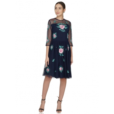 Rose Embroidery Navy Tulle Dress