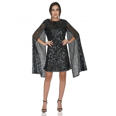 Cape Style Long Sleeve Sequin Dress