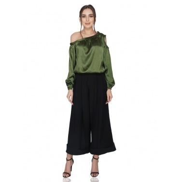 Off Shoulder & Cold Shoulder Green Top