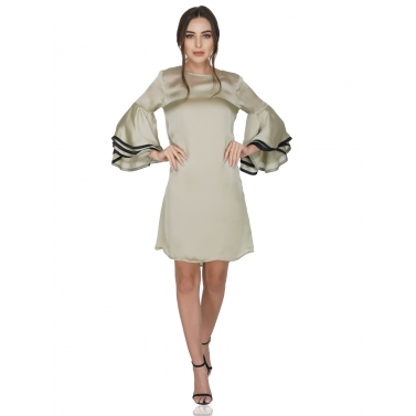Bell Sleeves Contrast Piping Dress