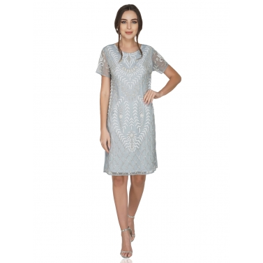 Beaded Silver Grey Tulle Dress With Knit Lining