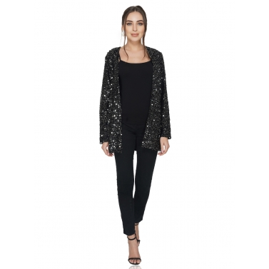 Black Sequin Open Jacket