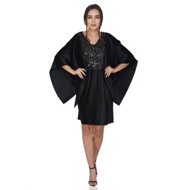 Flutter Sleeve Pleated Dress With Sequin Yoke