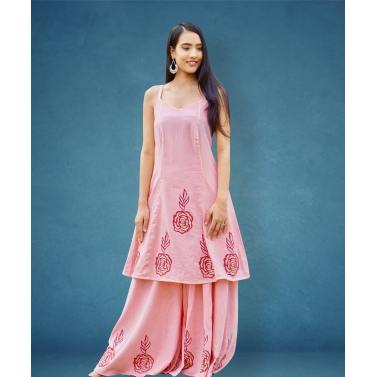Pastel pink spagetti short kurta with wide flaired palazzo
