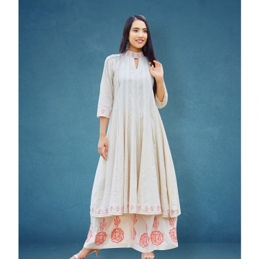 high collar flaired anarkali kurta with palazzo