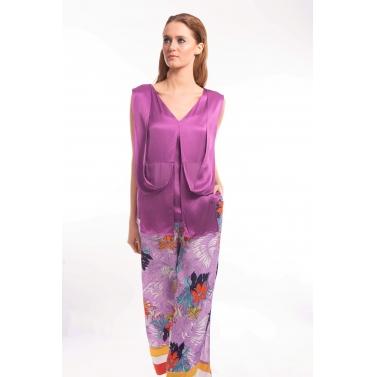 Lavender Flow Silk Formal Top and pants