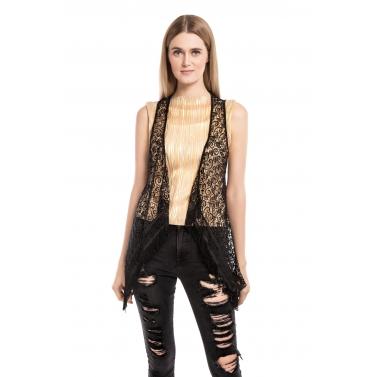 Paneled Lace Crochet Lazer Jacket