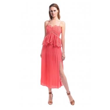 Pleats Ruffle Midi Dress