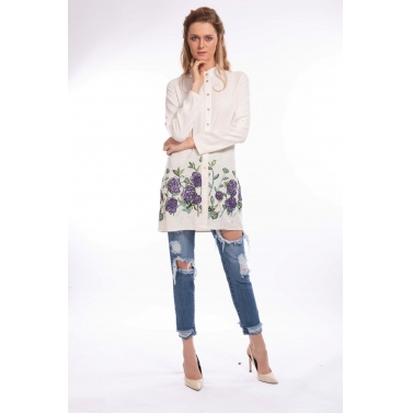 Colored Floral embroidery Linen Shirt