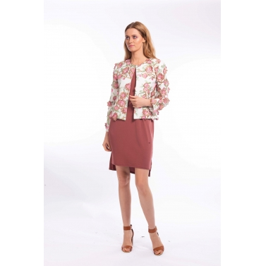 Metallic Applique Floral Blazer