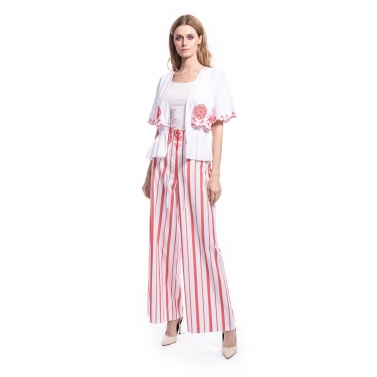 Red Floral embroidery Stripe Pants & Top