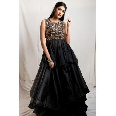 Black Peplum With Organza Skirt