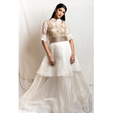Cream Organza Top And Skirt