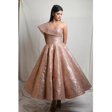 One Side Shoulder Sequin Gown