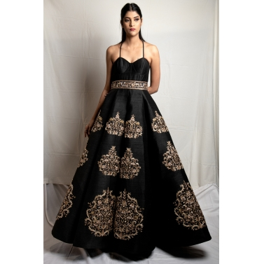 Black Raw Silk Gown