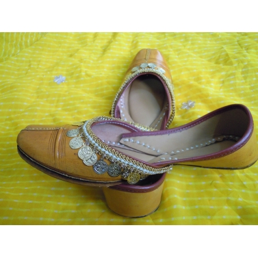 mustard yellow leather jutti with coin work