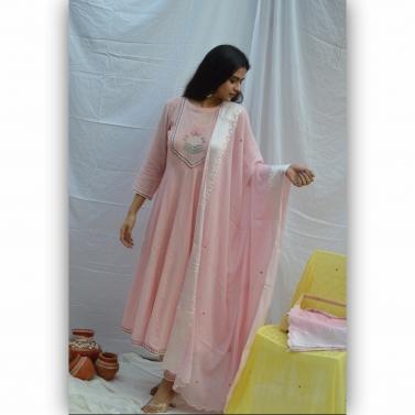 Pink Embroidered Anarkali Suit Set