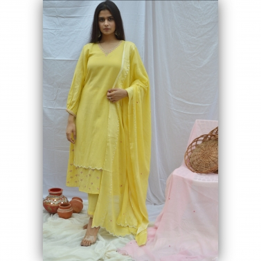Yellow Embroidered Double Layer Suit Set