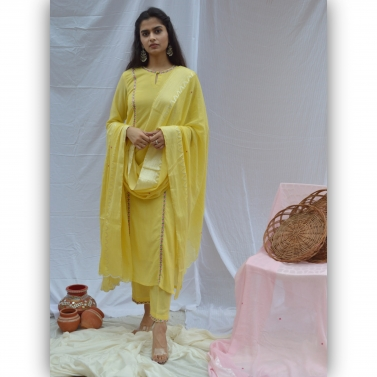 Yellow Embroidered Princess Cut Suit Set