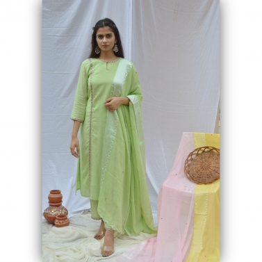 Green Emroidered Priness Cut Suit Set