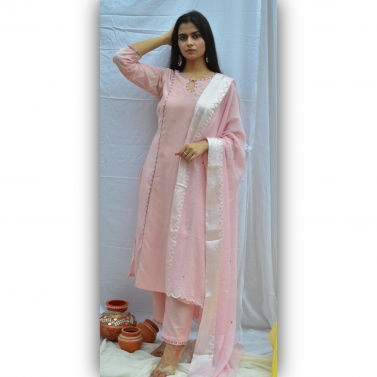 Pink Embroidered Princess Cut Suit Set