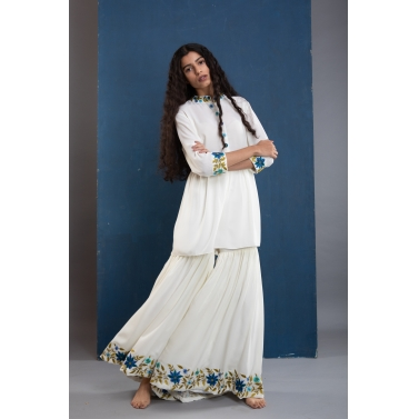 White Garden Sharara Set