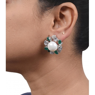 designer-womens-wear/big-cultured-pearl-stud-with-emerald-and-diamond-halo