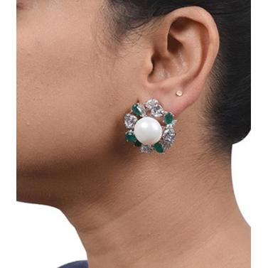 designer-womens-wear/designer-earrings-ear-cuff-designs/big-cultured-pearl-stud-with-emerald-and-diamond-halo