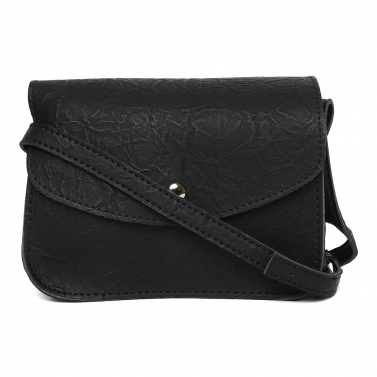Black Wrinked Crossbody Bag