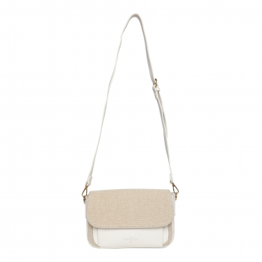 White PU and Canvas Hand Bag
