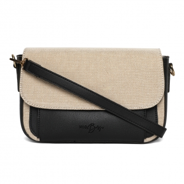 Black PU and Canvas Hand Bag