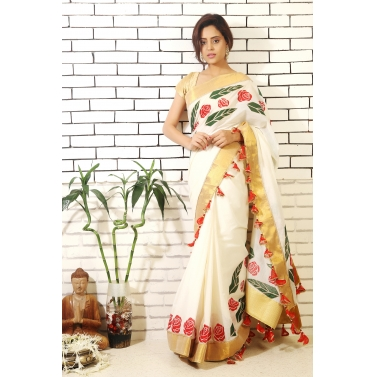 Kerala Rose and Leaf Saree