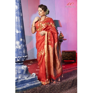 Red Embroidered Linen Saree