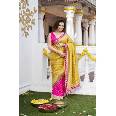 2 Piece Banarasi Pre Pleated  Wrap Saree