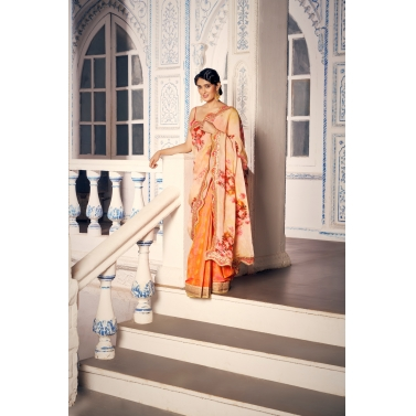 Peach Pre Pleated Georgette Saree