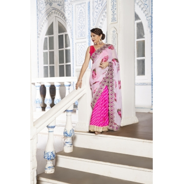 Pink Pre Pleated Georgette Saree