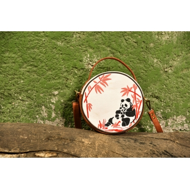 ROUND SLING BAG- Mother and Baby Panda