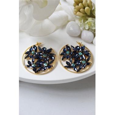 Blue Crystal Lotus Side Hoops