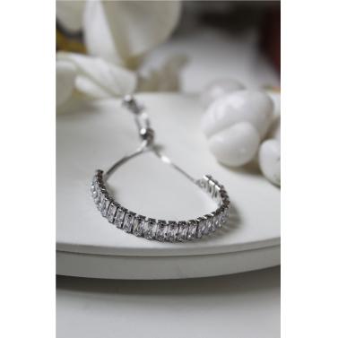 18K White Gold Plated Tennis Slider Bracelet