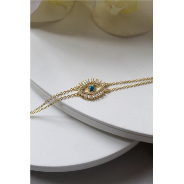 18K Yellow Gold Plated Crystal Evil Eye Bracelet