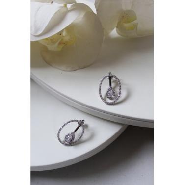 18K White Gold Plated Multi Earring