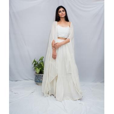 Off White Crop Top Skirt Set1