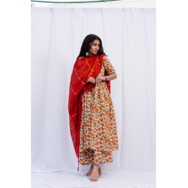 Narangi phool jaal thappa suit set