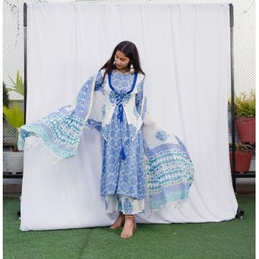 Neela Uparri jhalar suit set