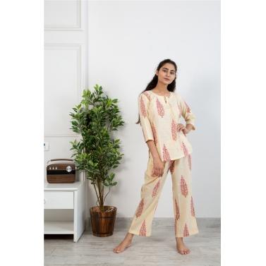 Creme Gulabi Butta Loungewear Set