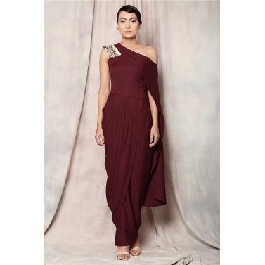 metallic fringe drape dress