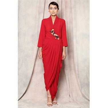 shawl collar wrap dress