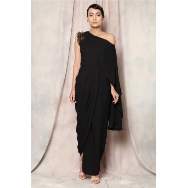 metallic fringe drape dress1