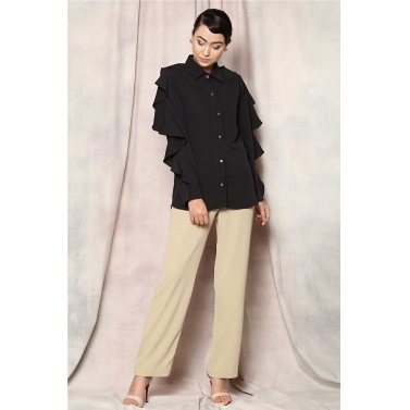 SHOULDER RUFFLE FORMAL SHIRT