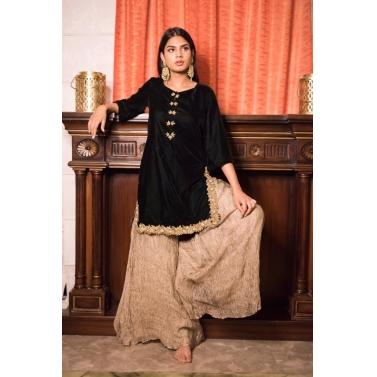 Velvet Embroidered Sharara Set